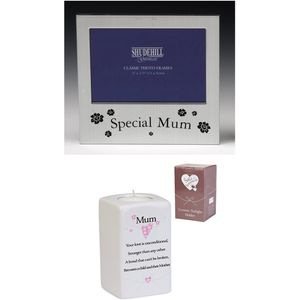 Mum Photo Frame & Tealight Candle Holder Gift Set