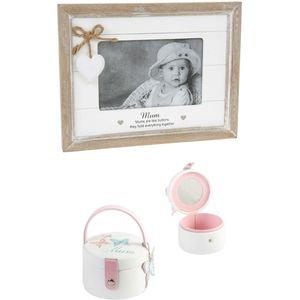 Mum Gift Set: Sentiment Photo Frame & Jewellery Box