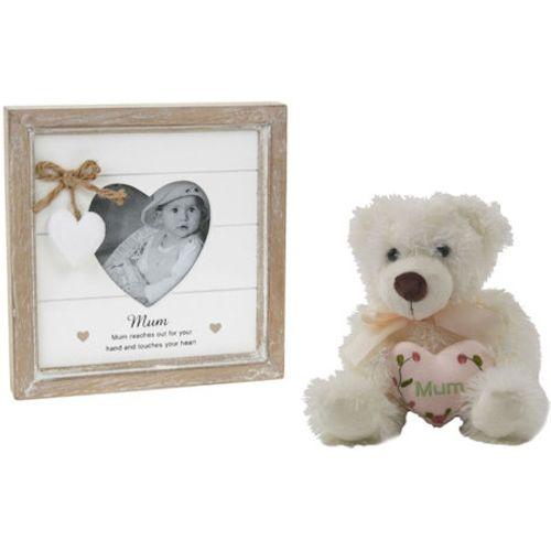 Mum Gift Set: Photo Frame & Teddy Bear