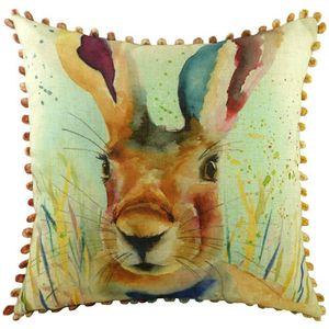 Evans Lichfield Artistic Animals Collection Bobble Trim Cushion Cover: Hare