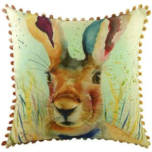 Evans Lichfield Artistic Animals Collection Bobble Trim Cushion: Hare 43cm x 43c