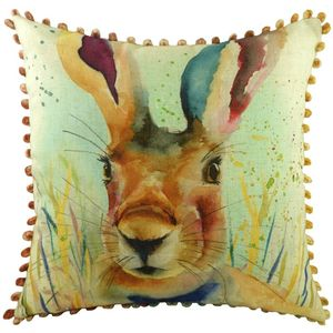 """Portrait Hare Cushion Cover with Bobbles 17x17"""""""
