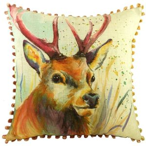Stag Cushion With Bobble Trim 17x17""