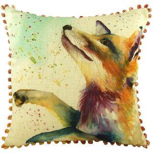 "Fox Cushion Cover with Bobble trim 17x17"""