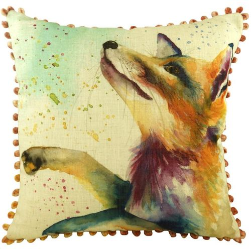 Evans Lichfield Artistic Animals Collection Bobble Trim Cushion: Fox 43cm x 43cm