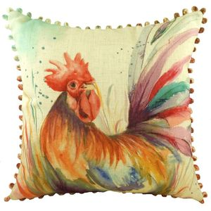 Cockerel Cushion Cover with Bobble Trim 17x17""