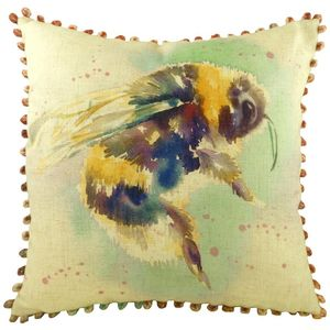 Bee Cushion Cover with Bobble Trim