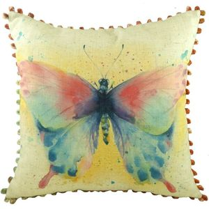 Butterfly Cushion Cover with Bobble Trim