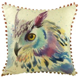 Evans Lichfield Artistic Animals Collection Bobble Trim Cushion: Owl 43cm x 43cm