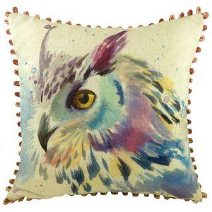 Owl Cushion with Bobble Trim