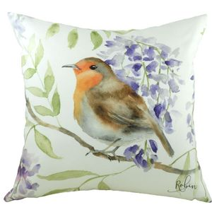 British Birds Robin Cushion Cover 17x17""