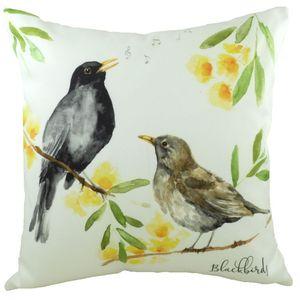 """British Birds Blackbirds Cushion Cover 17x17"""""""