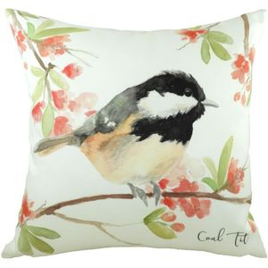 British Birds Coal Tit Cushion Cover 17x17""