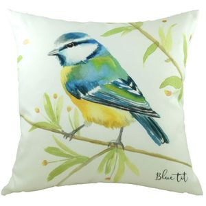 British Birds Blue Tit Cushion Cover 17x17""