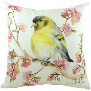 British Birds Siskin Cushion Cover 17x17""