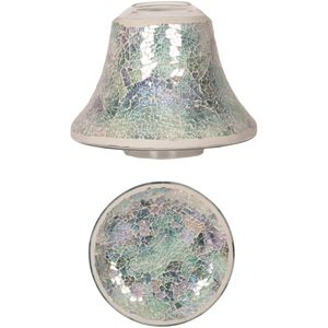 Aroma Jar Candle Shade & Plate Set: Blue Crackle