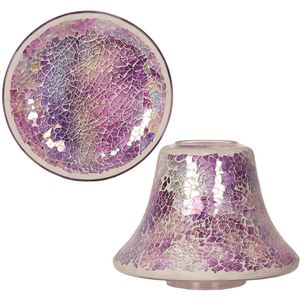 Aroma Jar Candle Shade & Plate Set: Purple Crackle