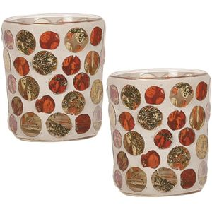 Aroma Votive Candle Holders Set of 2: Golden Circle Design