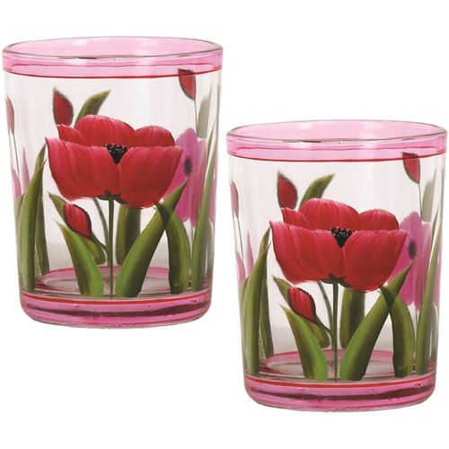 Aromatize Votive Candle Holders - Hand Painted Tulips (Set of 2) VC997