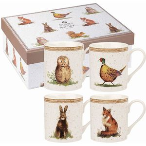 Alex Clark 4 Larch Mugs Set - Wildlife