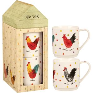Alex Clark Tower Stacking 2 Mug Set - Rooster