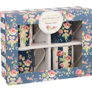 Julie Dodsworth 4 Larch Mugs Set - Flower Girl