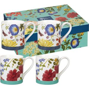 Butterflies & Blooms Larch set of 4 Mugs