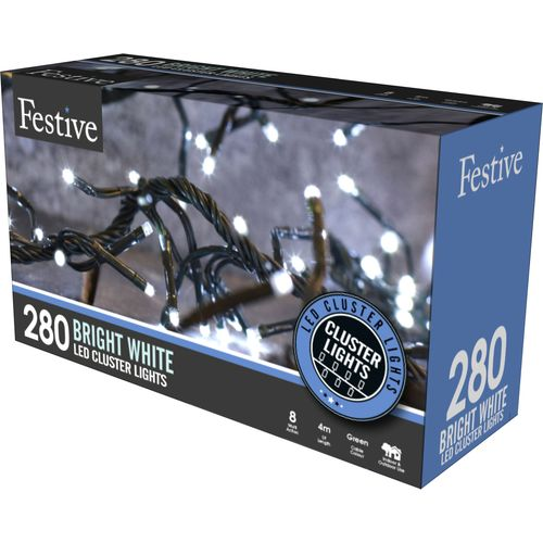 280 Cold White LED Multi Function Cluster Lights with Timer