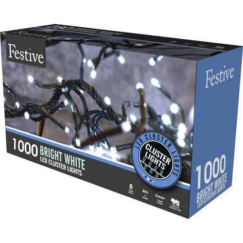 1000 Cold White LED Multi Function Cluster Lights with Timer