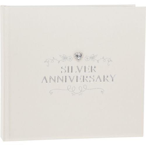"Shudehill Giftware Silver Anniversary Photo Album Holds 50 4"" x 6"" Photos"