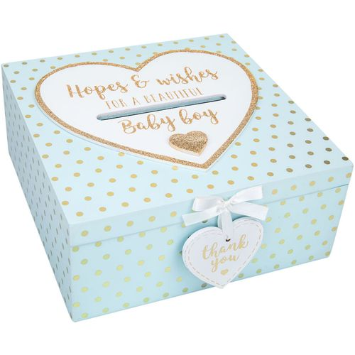Baby Shower Box - Hopes and Wishes for a Beautiful Baby Boy Keepsake Box Blue