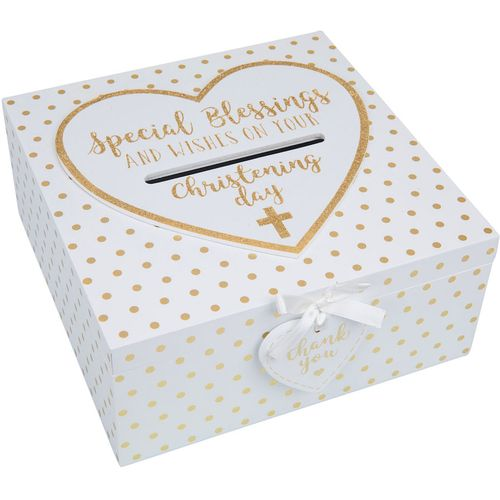 Christening Keepsake Box - Special Blessings & Wishes on your Christening Day White