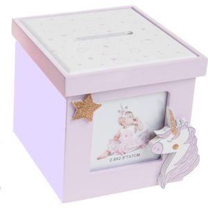 Unicorn Photo Money Box (Lilac)