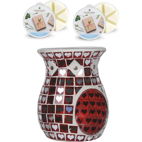 Aroma Wax Melt Burner Set: Red Mosaic & Perfect Day