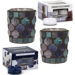 Aroma Votive Candle Holders & Goose Creek Tea Lights Set - Blue Mosaic