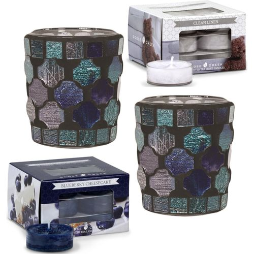 Aromatize Candle Holders with Goose Creek Tealights: Blue Mosaic Holders & Goose Creek Tealights