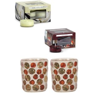 Aroma Candle Holders & Tealights Set: Golden Circles