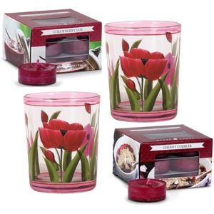 Aroma Candle Holders & Goose Creek Tea Lights Set - Tulips