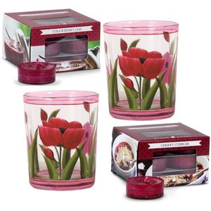 Aroma Candle Holders & Tealights Set: Tulips