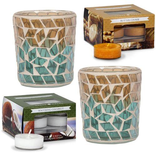 Aromatize Candle Holder & Tealight Set: Oasis Diamond & Goose Creek Tealights
