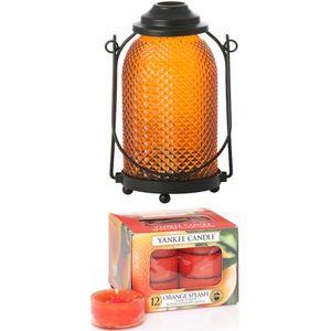 Lantern Candle Holder - with Orange Splash Tealights