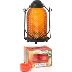 Yankee Candle Lantern with 12 Orange Splash Tea Lights