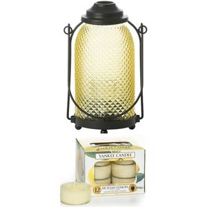 Yankee Candle Lantern with 12 Sicilian Lemon Tea Lights
