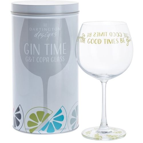 Dartington Gin Copa G&T Glass: Gin Time Collection Let the Good Times Be Gin