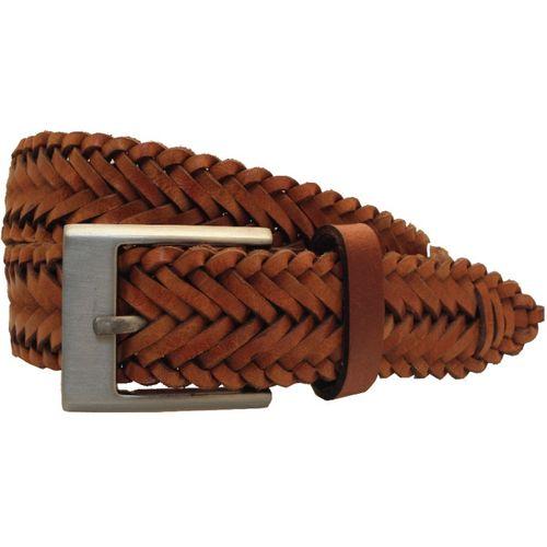 "Full Grain Waxed Leather Plaited Belt: Tan Size Small Waist 32"" - 34"""
