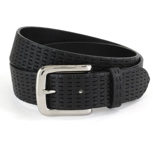 "Embossed Leather Belt: Black Size S Waist 32"" - 34"""