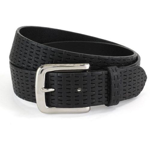 "Embossed Leather Belt: Black Size L Waist 38"" - 40"""