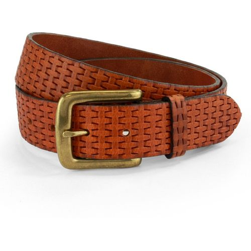 "Embossed Leather Belt: Tan Size S Waist 32"" - 34""