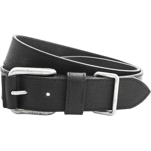 """Full Grain Leather Belt with Metal Keeper: Black Size S Wiast 32"""" - 34"""""""