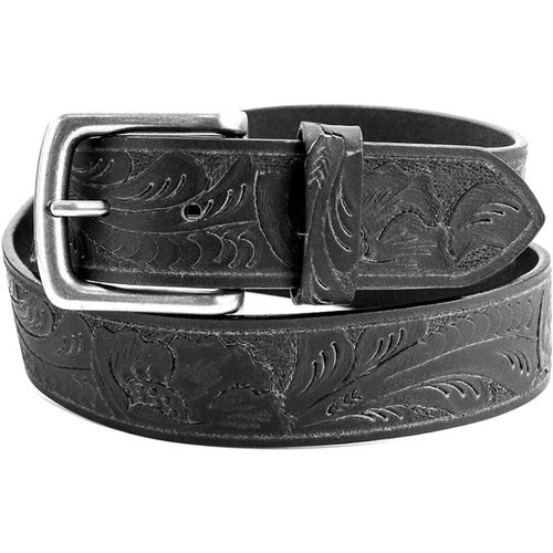 "Leather Belt with Embossed Pattern - Black Size Large Waist 38"" - 40"""